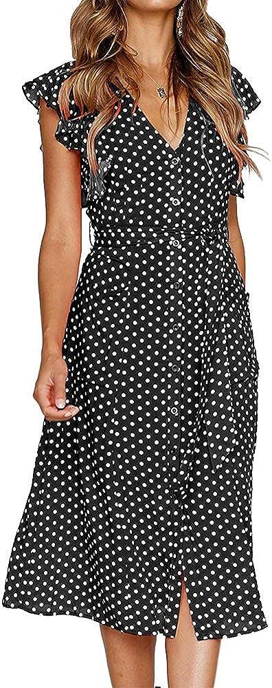 MITILLY Women/'s Summer Boho Polka Dot Sleeveless V Neck Swing Midi Dress with