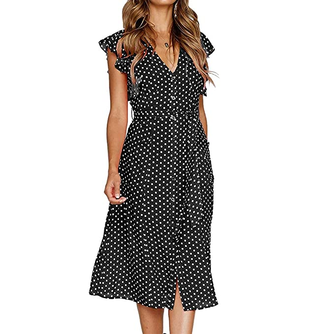 32b86aca94f suonabeier Women s Summer Boho Polka Dot Ruffles Sleeveless V Neck Button  Swing Midi Beach Dress Black