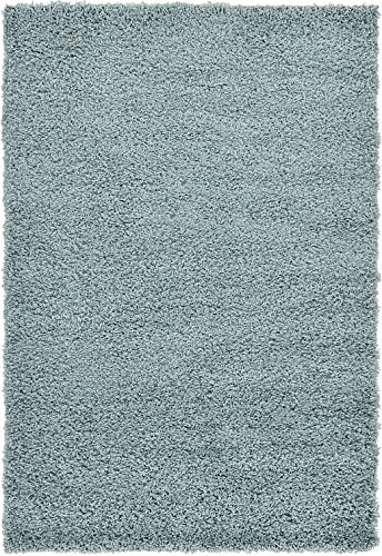 Unique Loom Solid Shag Collection Light Slate Blue 4 x 6 Area Rug (4' x 6') (Four Slate Light)