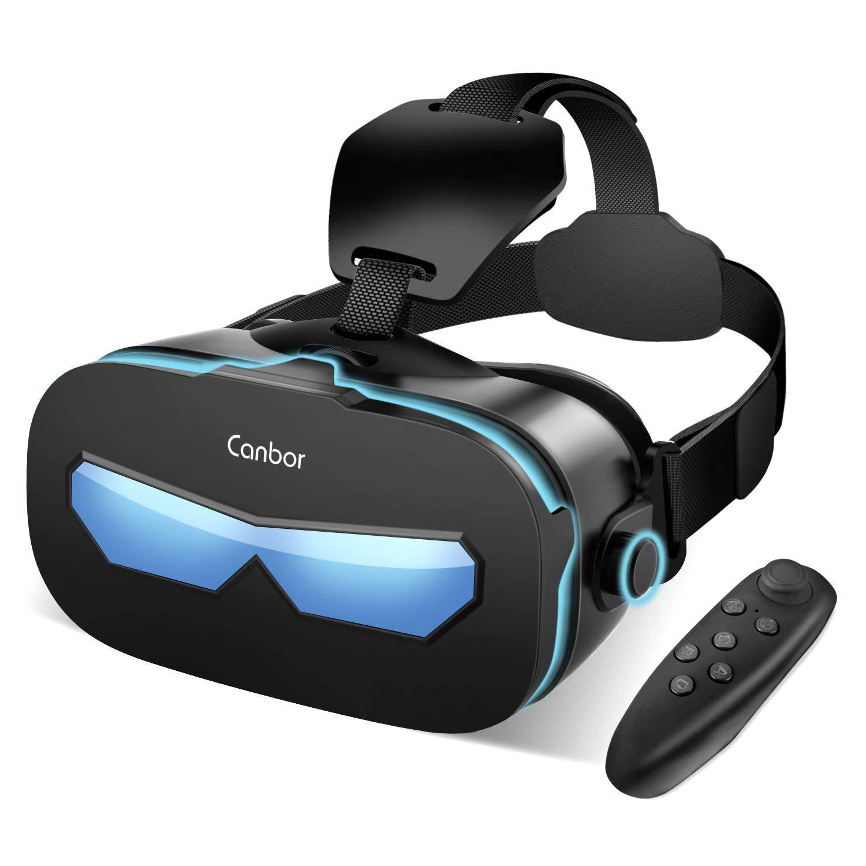 Canbor VRゴーグル VRヘッドセット VRグラス 3Dメガネ 動画 ゲーム 映画 Bluetoothコントローラ付き 4.0-6.3インチのiPhone androidなどのスマホ対応 (ブラック) product image