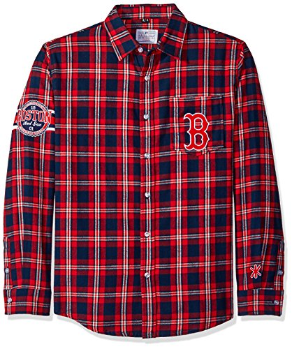 Boston Shirt Red Sox - Boston Red Sox Wordmark Basic Flannel Shirt Double Extra Large
