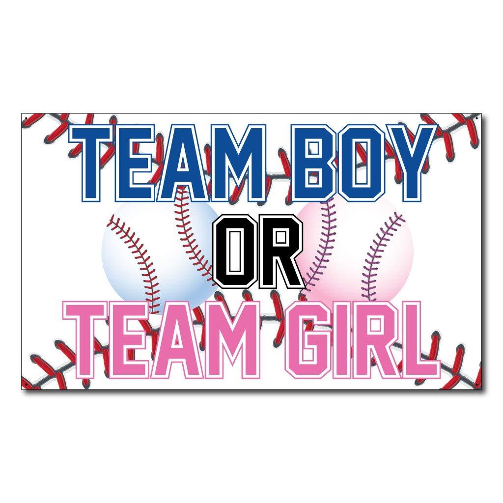 VictoryStore Gender Reveal Party Supplies: Gender Reveal Baseball Banner - Team Boy or Team Girl Waterproof Vinyl Banner 3'x5'