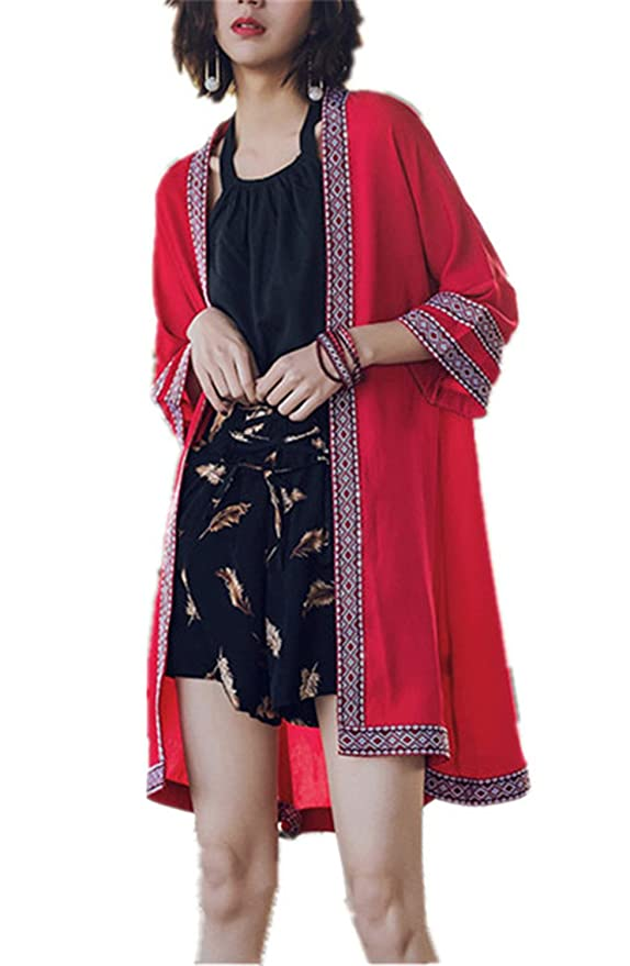 QIUHUAXIANG Long Cardigan Summer Embroidery Blouse With Sleeve Fashion Casual Tops at Amazon Womens Clothing store: