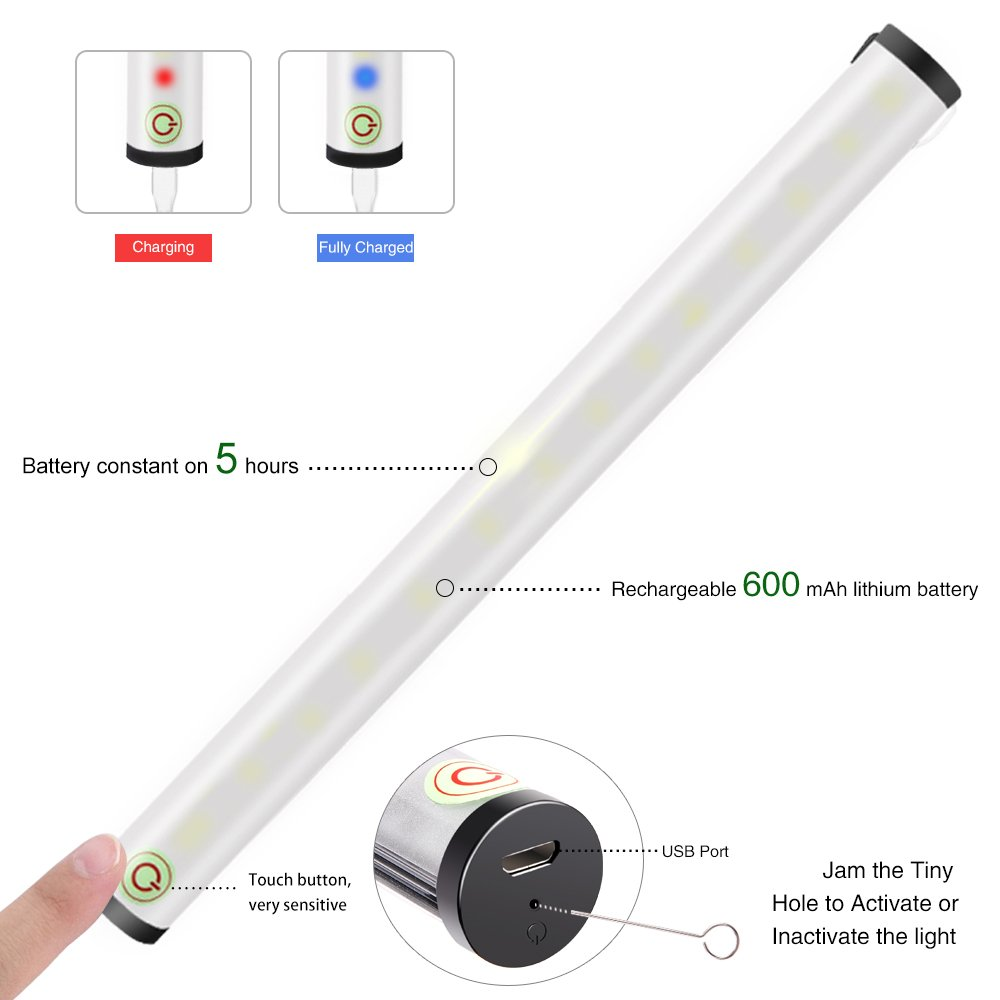 Rechargeable Touch Tap Light,15 LED Stick-anywhere Closet Lights By OUNIER,Portable Dimmable LED Night Light,Cordless Push Light,Touch Sensor For Outdoor Camping, Hallway, Bedroom, Kitchen, etc