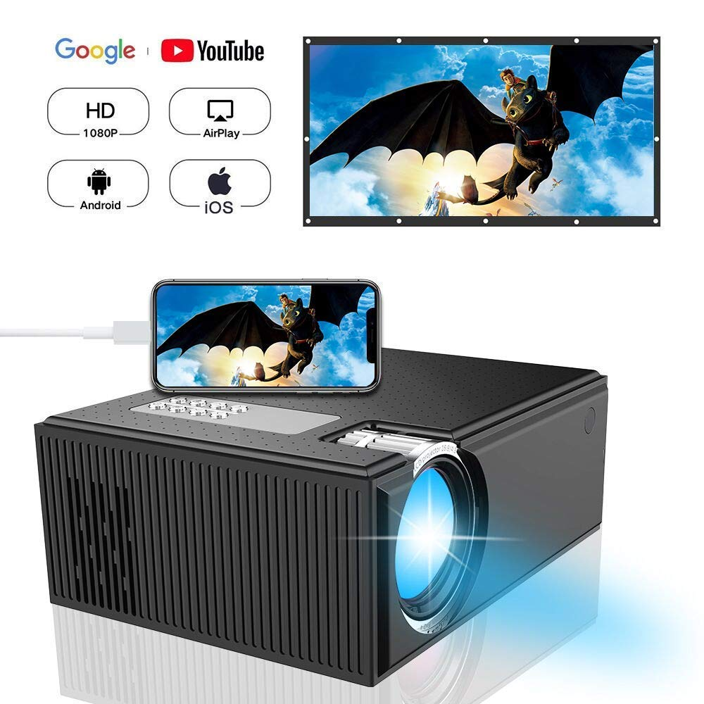 Projector DIWUER Video Projector LCD Home Theater Projectors Support 1080P for iPad iPhone Android Smartphone Home Entertainment Party and Games (2018 Newest Version)