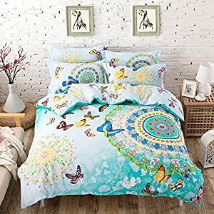 TheFit Paisley Bedding for Adult U168 Bohemian Green Butterfly Duvet Cover Set 100% Cotton, Queen Set, 4 Pieces