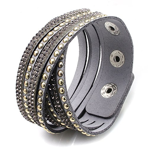 Bling Bling Crystal Rhinestones Soft Comfortable Velvet, Adjustable Size Button Clasps Friendship Bracelet (B05. Spike, Diamond Color)