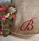 "Burlap Christmas Tree Skirt, with Red and White French Ticking, Large Approx. 60"" Burlap Tree Skirt, Optional Personalization"