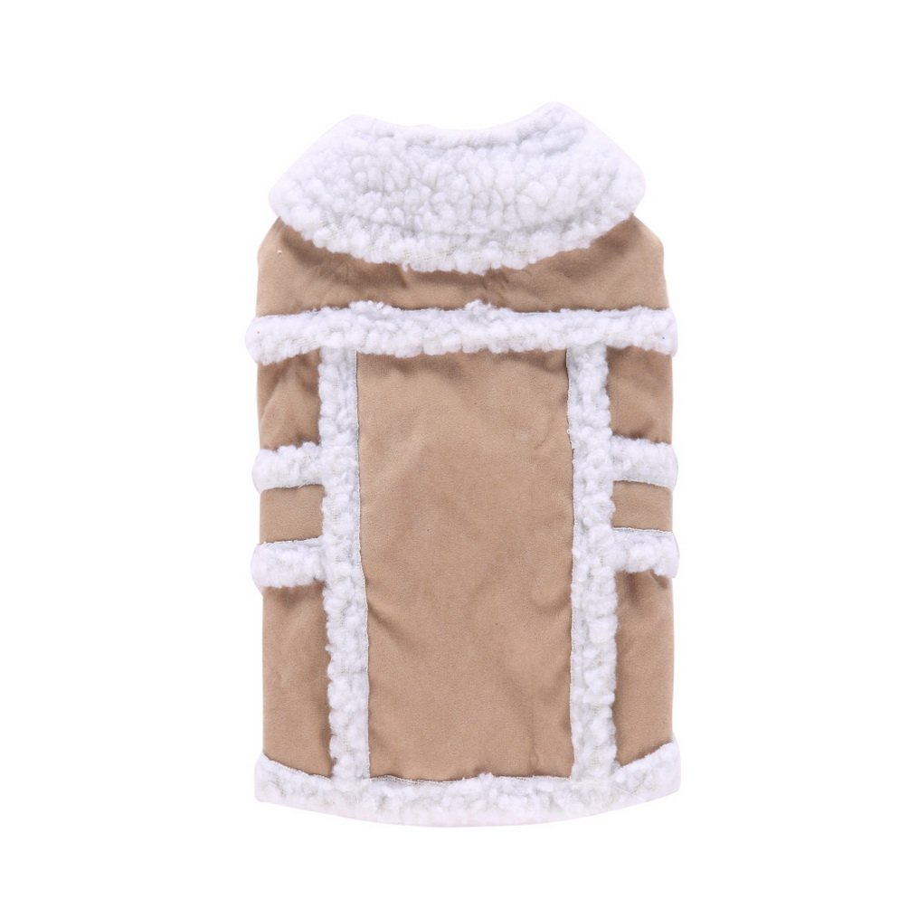 Medium Beige smalllee/_lucky/_store XCW0045-beige-M Shearling Suede Small Cat//Dog Fleece-lined Vest Coat