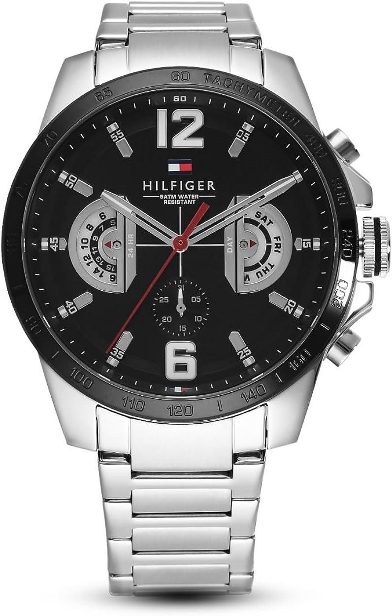 Tommy Hilfiger Reloj Multiesfera para Hombre de Cuarzo con Correa en Acero Inoxidable 1791472