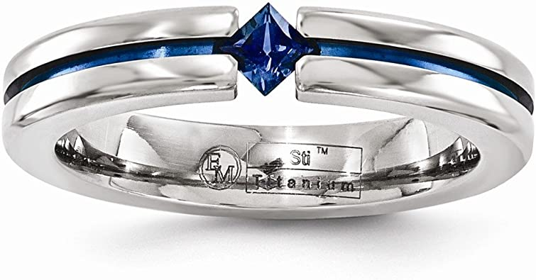 Edward Mirell Titanium Sapphire /& Blue Anodized 4mm Band