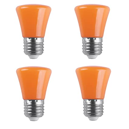 awe light 4 pack 2w led colored orange light bulb g45 e26 medium base
