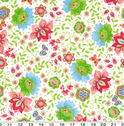 - 1 Yard Suzette by Sue Zipkin from Clothworks Cream Floral 100% Cotton Quilt Fabric Y0911-2