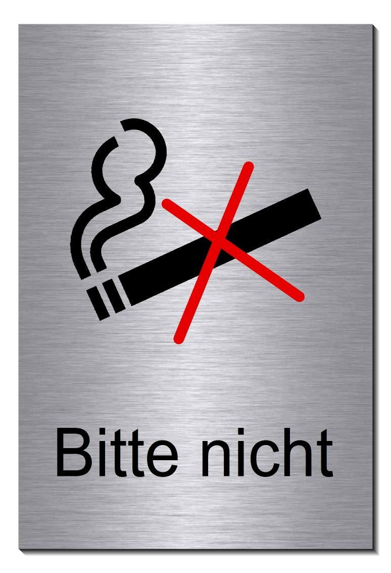 1905-18 mit Klebepats Rauchen verboten-Rauchverbot-Symbol-Schild 150 x 100 x 3 mm-Aluminium Edelstahloptik silber mattgeb/ürstet Hinweisschild