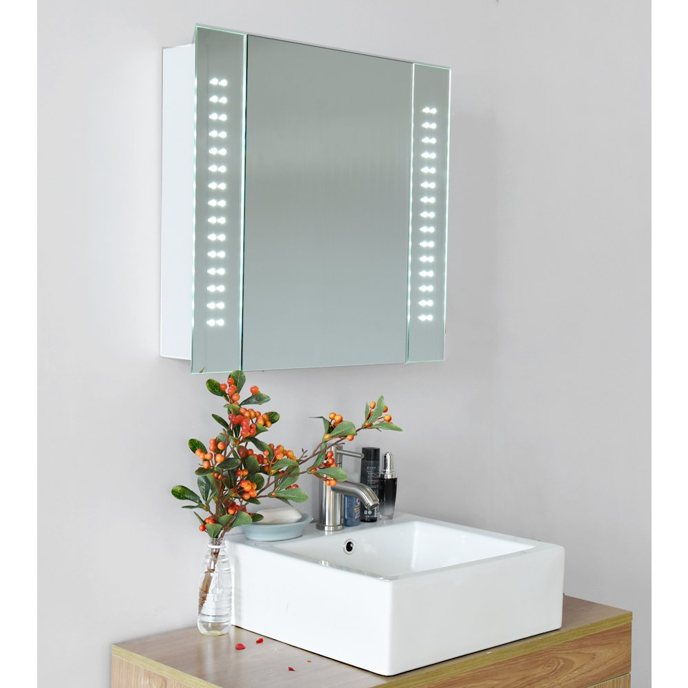 Beshomethings 60 LED Lights Bathroom Mirror Cabinet Shaver Demister Sensor Cupboard White Fog Dust Resistent Waterproof