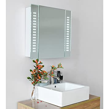britoniture 60 led light illuminated bathroom mirror cabinet storage