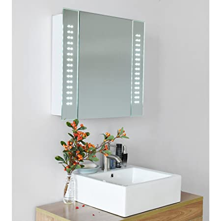 60 x led illuminated bathroom mirror cabinet shaver demister sensor