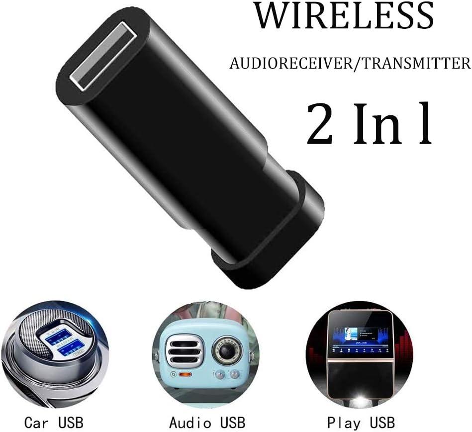 HUET 2 en 1 USB Bluetooth 5.0 transmisor de audio, adaptador de audio telescópico de 3,5 mm, adaptador de red digital inalámbrico para PC