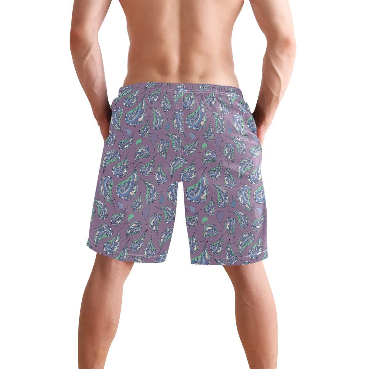 Zoe Dull Mens Medium Length Paisley and Oak Leaves Beach Shorts Casual Athletic Swimming Pants