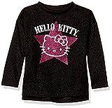 Image of Hello Kitty Little Girls' Metallic Knit Sweatshirt with Glitter Print, Black, 6