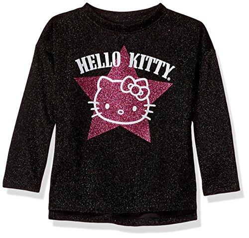Hello Kitty Big Girls' Metallic Knit Sweatshirt with Glitter Print, Black, 7