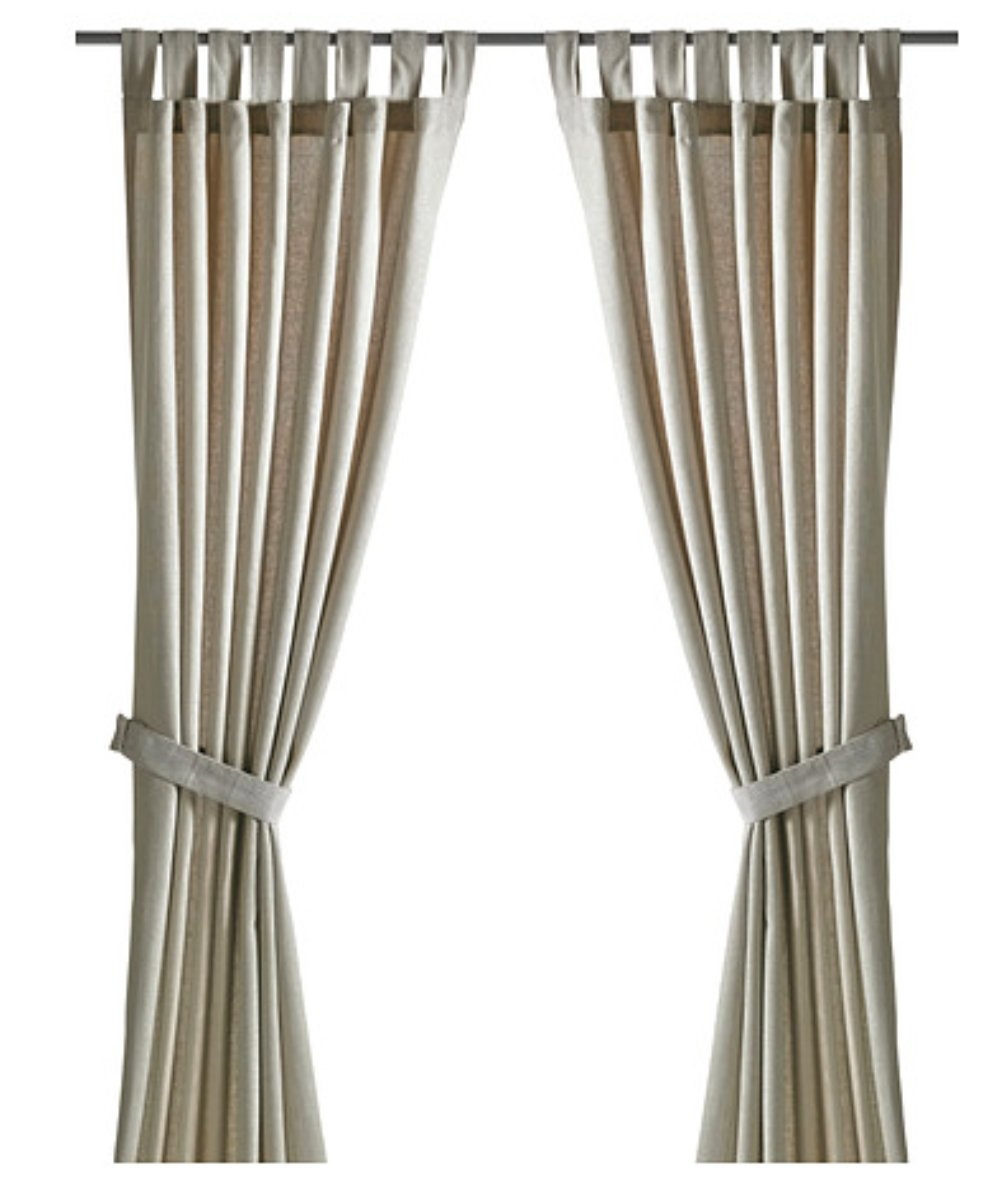 Amazon.com: Ikea LENDA Pair of curtains with tie-backs, light beige ...