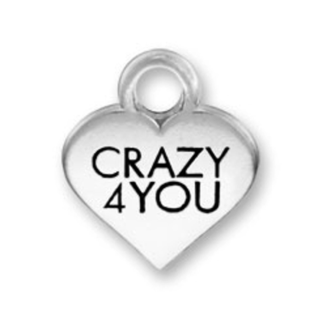 Sterling Silver Womens 1mm Box Chain CRAZY 4 YOU Valentines Candy Heart Pendant Necklace