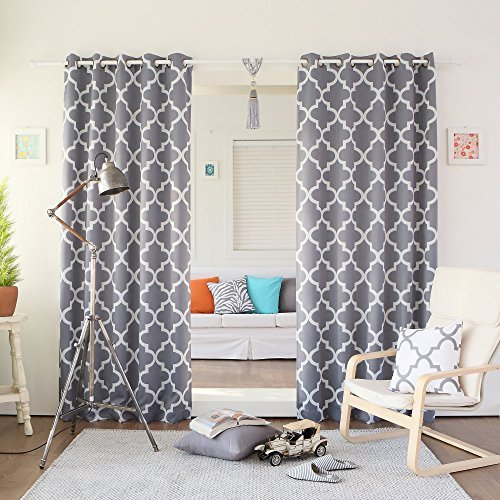 Best Home Fashion Room Darkening Blackout Moroccan Print Curtains – Antique Bronze Grommet Top – Grey – 52″W x 84″L – (Set of 2 Panels)