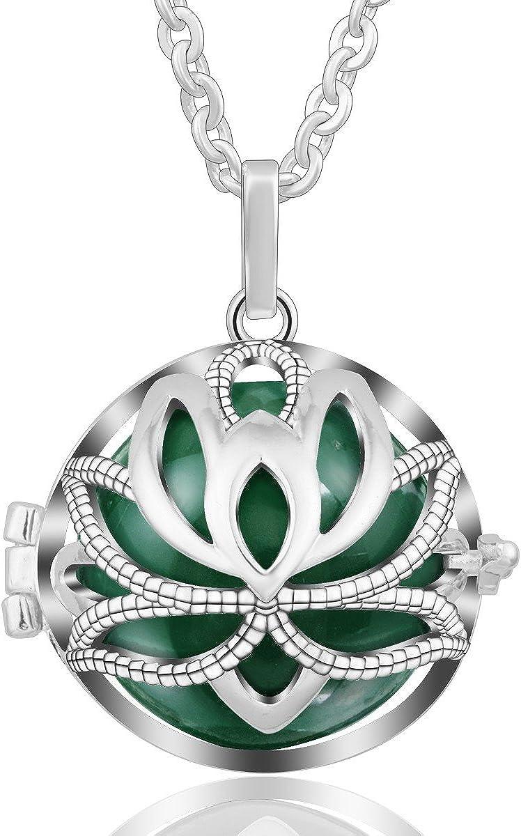 EUDORA Harmony Bola Necklace Yoga Lotus Music Chime Locket Pendant Wishing Ball Pregnancy Gift, 30