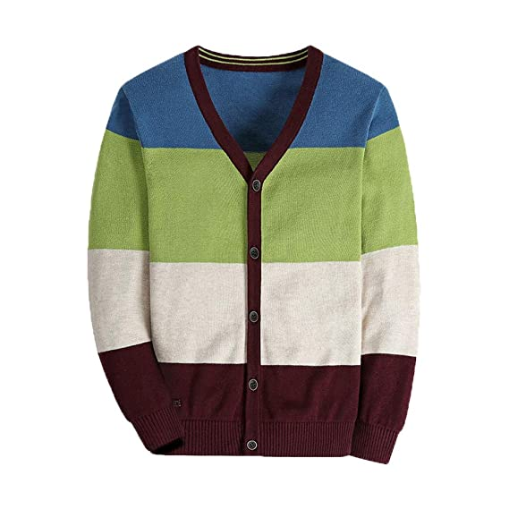 BASADINA Boy Striped Sweater Cardigan Zipper Up Closure Sweater Jacket for Boys Thick Sweater Long Sleelve Cotton