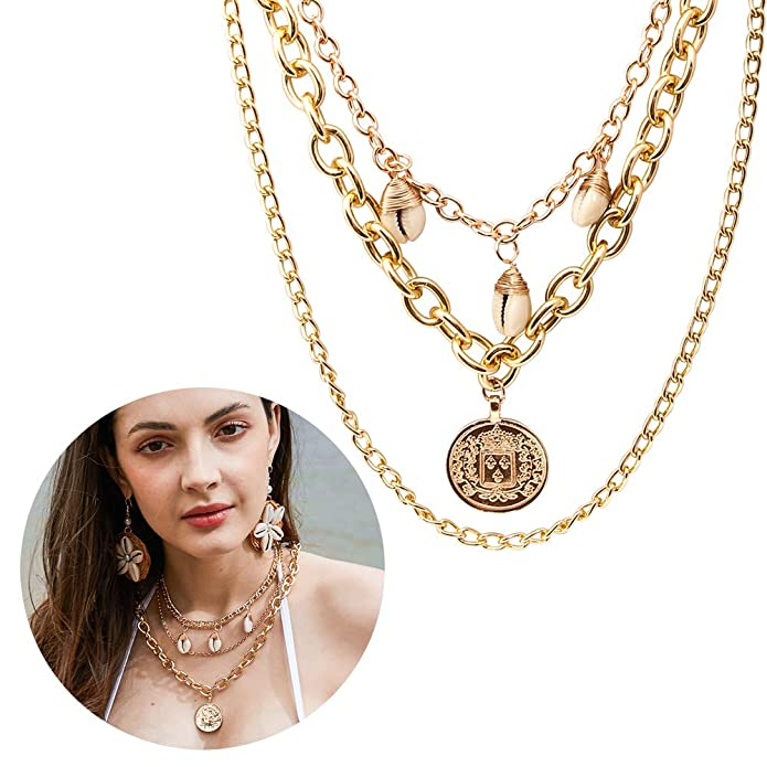 e9d01dfc25e027 Amazon.com: CrazyPiercing Layered Choker Necklaces, Gold Tone Tag Coin Pendant  Necklace, Shell Chain Vintage Layered Necklace for Women Girls (Gold Coin):  ...