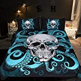 Sleepwish Octopus Tentacle Skull bedding, Under the Sea Skull and Tentacles of the Octopus Duvet Cover Set, 3 Piece Blue and Black Bed Cover for Kids Boys (Twin)