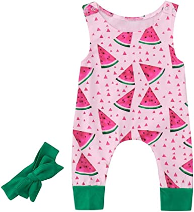 Fineser Baby Girl Watermelon Print Romper Infant Kids Cute Jumpsuit Outfits Clothes