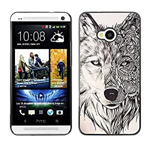 FlareStar Colour Printing Wolf Hound Dog Pencil Pattern Mystical cáscara Funda Case Caso de plástico para HTC One M7