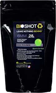 BioShot New Biodegradable Green Tracer Glow in The Dark Airsoft BBS - .28g Super Slick Seamless Competition Match Grade for All 6mm Airsoft Guns and Accessories (4500 Rounds)