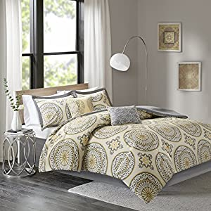 Comfort Spaces - Venice Cotton Comforter Set - 6 Piece - Medallion Pattern - Yellow, White, Grey - King Size, includes 1 Comforter, 2 Shams, 1 Bedskirt, 2 Décorative Pillows