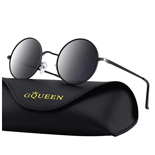 e2a50474b9 GQUEEN Retro Round Circle Lennon Polarized Sunglasses Mirrored Metal Alloy  for Men Women MEZ1