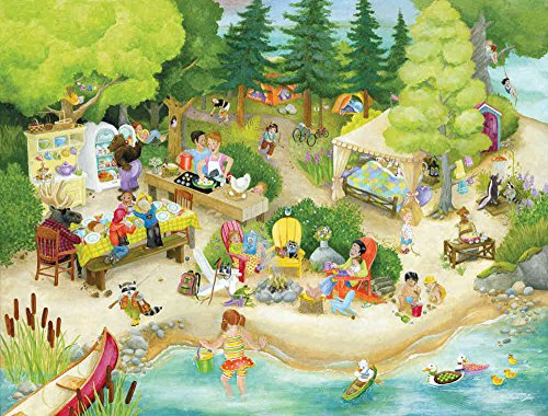 10.5-Feet wide by 8-Feet high. Prepasted high quality wallpaper mural for children from a photo of: Leonard Camping. Watch our video for how to hang our murals and NO problem. Removable and Reusable. Leonard and friends outdoor activities and picnic