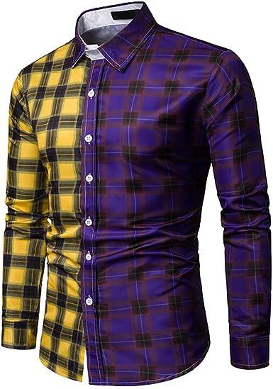 iHAZA - Camisa Casual - para Hombre Violeta XXX-Large: Amazon.es: Ropa y accesorios