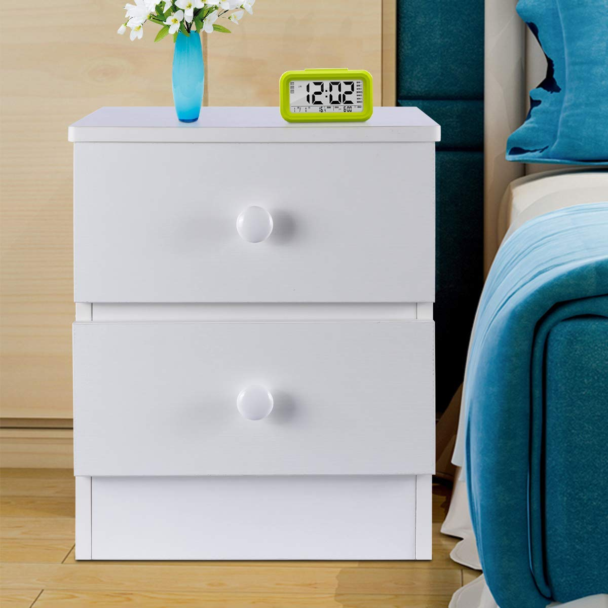 DOSLEEPS Bedside Table with 2 Drawers, Wood End Table/Coffee Table, Simple NightStand, Storage Unit, White