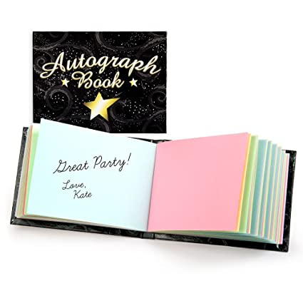 amazon com autograph book black with star 5 x 4 toys games