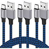 USB Type C Cable 3A Fast Charging, TAKAGI (3-Pack 6feet) USB-A to USB-C Nylon Braided Data Sync Transfer Cord Compatible…