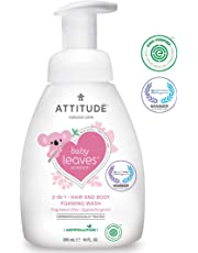 ATTITUDE Baby Leaves, Hypoallergenic 2 in 1 Shampoo & Body Foaming Wash, Fragrance Free, 10 Fluid Ounce