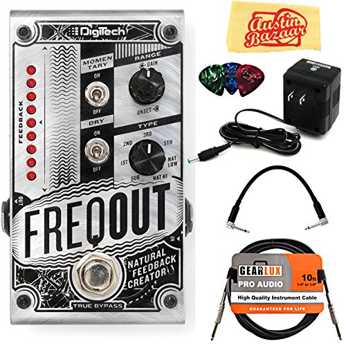 (DigiTech FreqOut Natural Feedback Creator Pedal Bundle with Power Supply, Instrument Cable, Patch Cable, Picks, and Austin Bazaar Polishing Cloth )