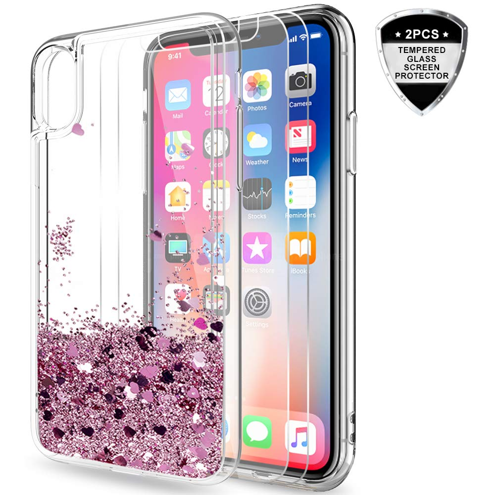 iPhone X Case, iPhone Xs Case with Tempered Glass Screen Protector [2 Pack] for Girls Women, LeYi Cute Shiny Glitter Moving Quicksand Clear TPU Phone Case for Apple iPhone X/iPhone Xs ZX Teal/Purple 4351679801