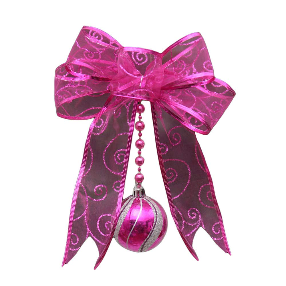 Saitingdianzi Christmas Tree Decoration Pendant Colorful Mesh Bow Gauze Ribbon Small Home Window Decor (Hot Pink,Free Size)