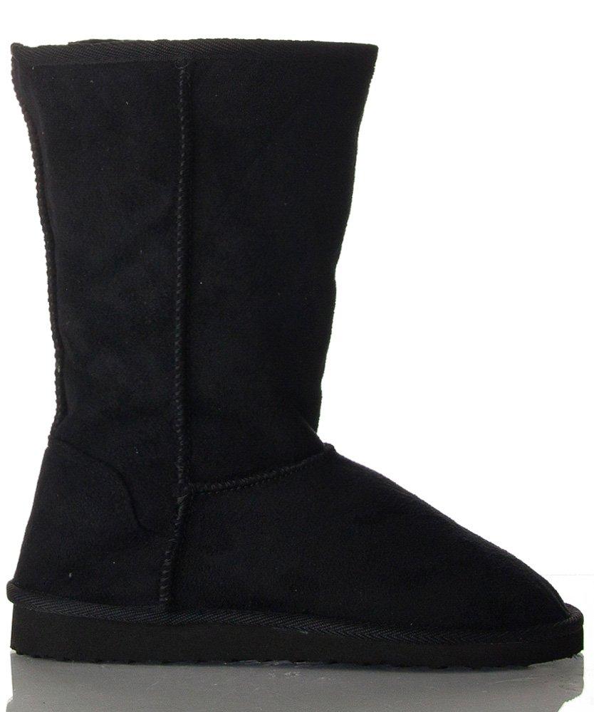 Soda Women's Soong Comfort Faux Suede Fur Mid- Calf Flat Boot, NAT, 8 M US B017O2AIW6 7.5 B(M) US New Black Suede