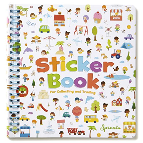 Sticker Farm Happy Day Series Travel-Size Reusable Sticker Book for Collecting Stickers, Small Starter Activity Sticker Album with 40 Reusable Puffy Stickers ()