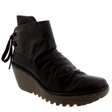e34d353dac8 Womens Fly London Yama Wedge Heel Ankle Boots Lace Up Shoe Brown Size: 4