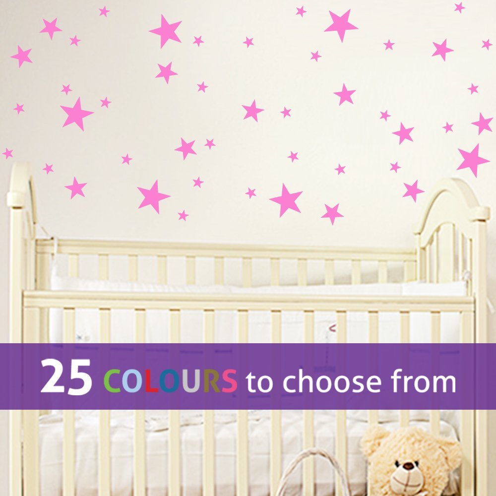 Pack of 45 MIXED size STARS, 1, 2 and 3 INCH star shapes wall art sticker decal, confetti stars, for baby boys, girls nursery, beauty salon, BUBBLEGUM PINK TopZog